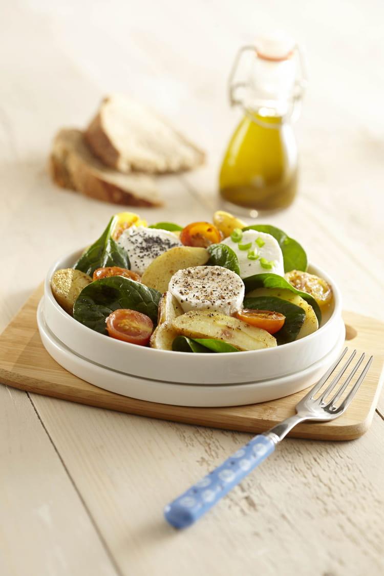 recette de salade de pommes de terre ratte du touquet et ch vre chaud la recette facile. Black Bedroom Furniture Sets. Home Design Ideas