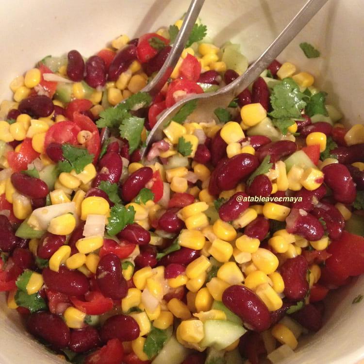 recette de salade de ma s et haricots rouges la mexicaine la recette facile. Black Bedroom Furniture Sets. Home Design Ideas