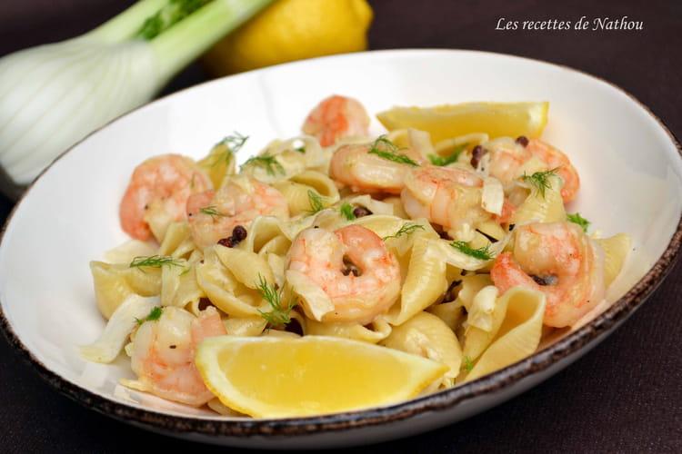recette de p 226 tes conchiglie au citron et fenouil crevettes et baies de szechuan la