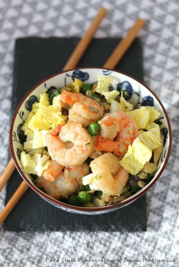 recette de wok de chou chinois et crevettes la recette facile. Black Bedroom Furniture Sets. Home Design Ideas