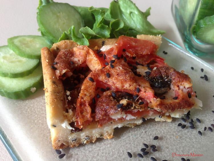 recette de tarte tomates oignons 2 fromages et p te bris e sans uf au s same noir la recette. Black Bedroom Furniture Sets. Home Design Ideas