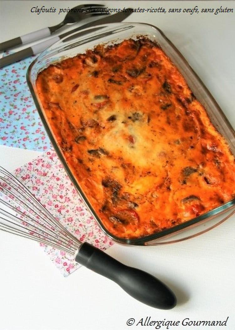 recette de clafoutis bio aux poivrons champignons tomates cerises ricotta sans oeufs gluten. Black Bedroom Furniture Sets. Home Design Ideas