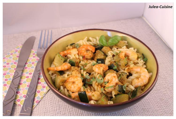 recette de p 226 tes aux courgettes crevettes et 233 pices la recette facile