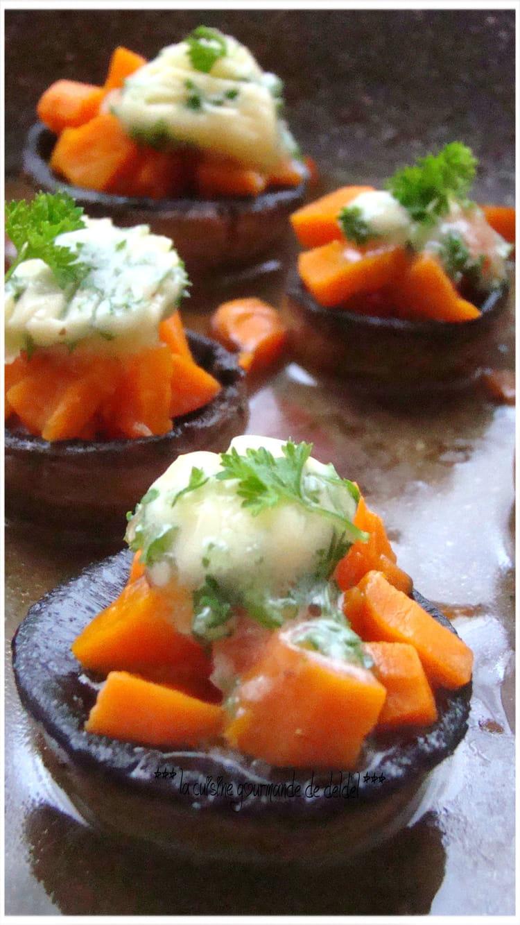 recette de champignons farcis aux carottes et beurre d 39 ail. Black Bedroom Furniture Sets. Home Design Ideas