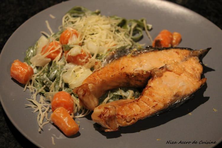 Recette de darne de saumon au fenouil et carottes fanes - Cuisiner darne de saumon ...