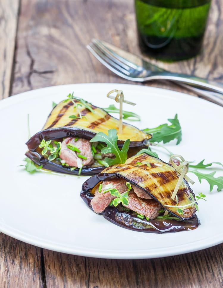 Recette aubergines grill es aux d s d 39 agneau marin s et saut s la fleur de thym la recette - Recette aubergine grillee ...