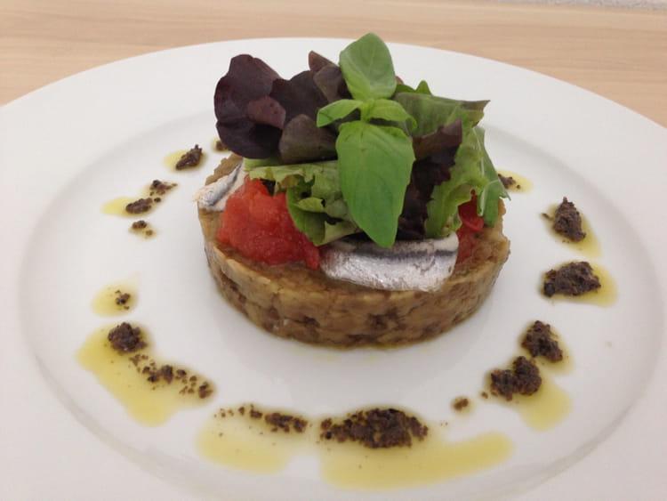 recette de caviar d 39 aubergine anchois marin s et tomates confites vinaigrette de tapenade la. Black Bedroom Furniture Sets. Home Design Ideas
