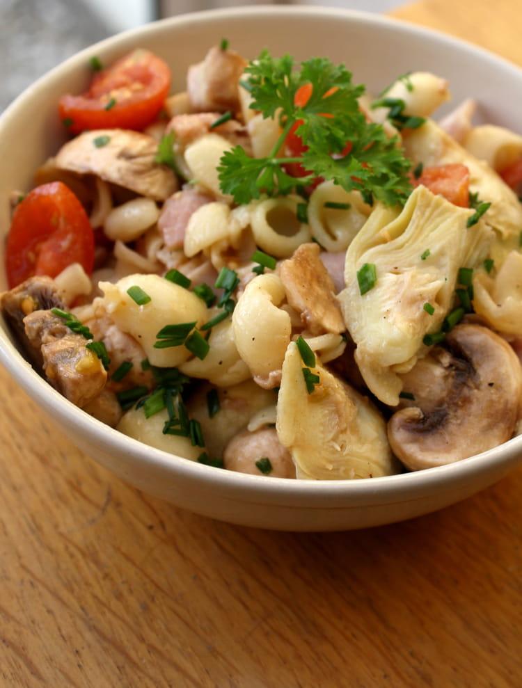 Recette de salade de p tes au coeur d 39 artichauts jambon - Salade de pates jambon ...