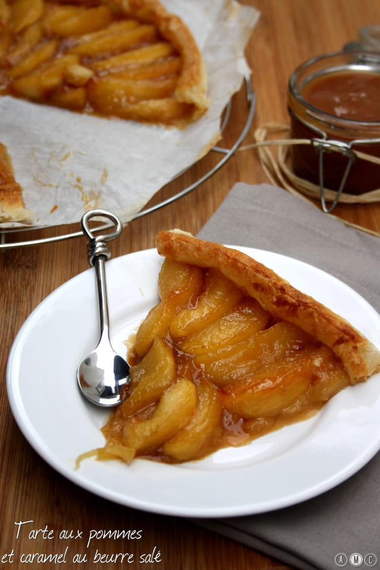 Recette de tarte aux pommes et caramel au beurre sal - Tarte aux pommes compote maison ...