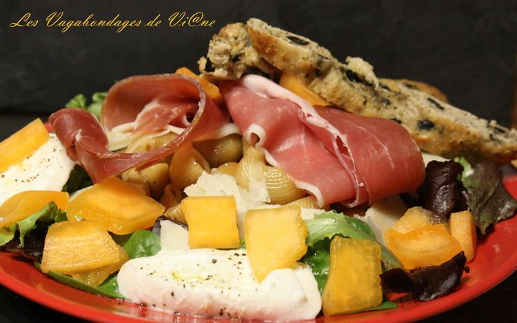 Recette de salade de p tes au melon jambon de parme et mozzarella la recette facile - Salade de pates jambon ...