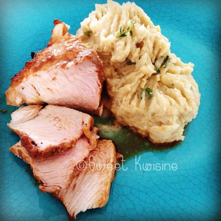 Recette de rouelle de porc r tie l 39 orange et puree de - Cuisiner rouelle de porc ...