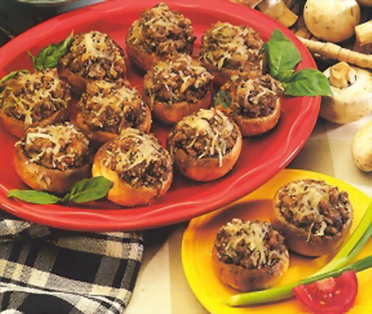 champignons farcis au jambon olives noires et mozzarella. Black Bedroom Furniture Sets. Home Design Ideas