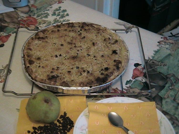 Recette de tarte aux poires p pites de chocolat et crumble la recette facile - Recette tarte aux chocolat ...