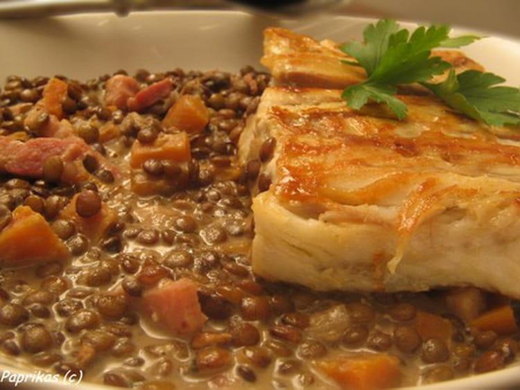 Recette de colin aux lentilles cr meuses la recette facile - Cuisiner les lentilles vertes ...