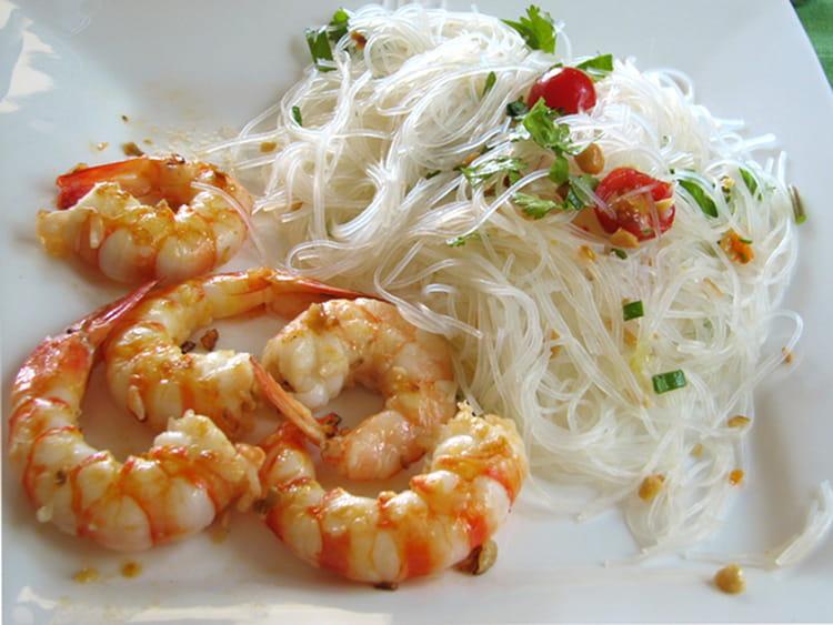 Recette de vermicelles de soja et gambas en chaud froid - Recette de cuisine facile et rapide plat chaud ...