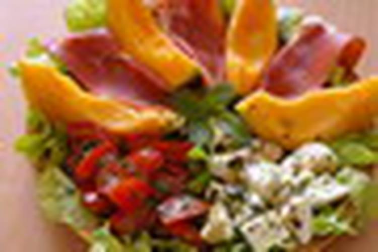 Recette de salade au melon jambon cru et mozzarellla la recette facile - Melon jambon cru presentation ...