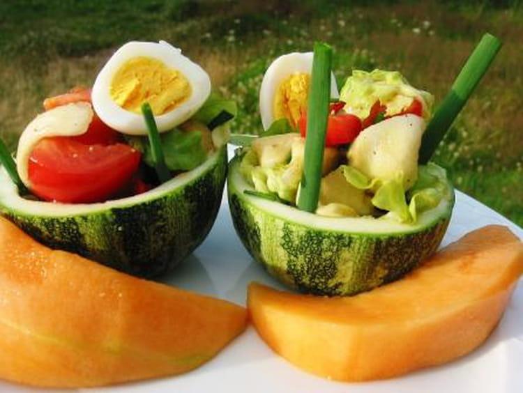 Recette de courgettes rondes farcies fa on salade la recette facile - Cuisiner des courgettes rondes ...