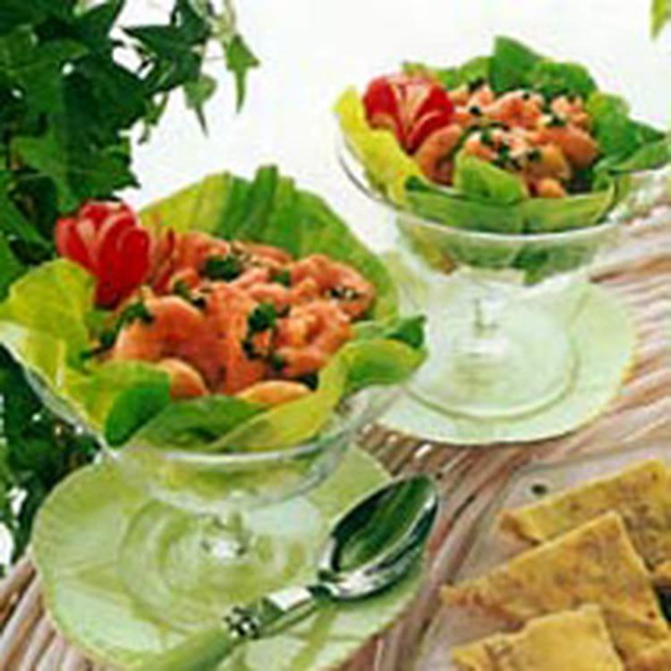 Recette de cocktail de crevettes sauce au bleu la for Cocktail de crevettes