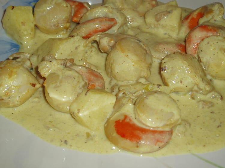 Recette de noix de saint jacques la cr me au curry la recette facile - Recette saint jacques curry ...