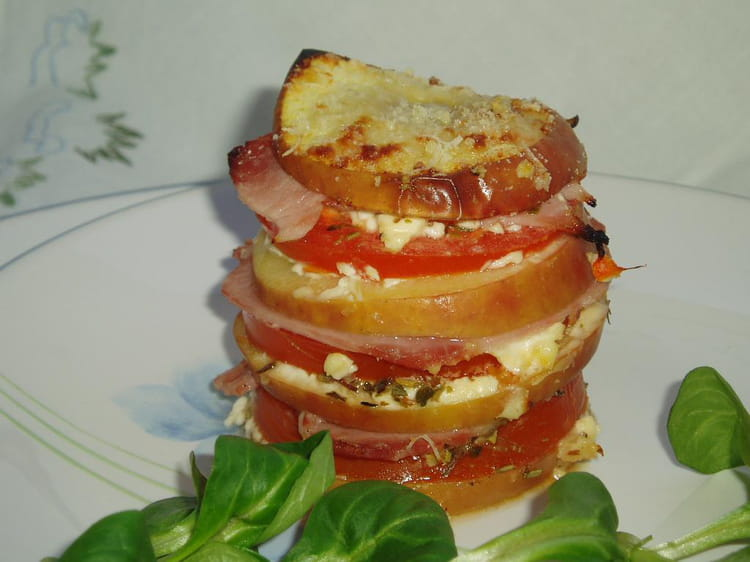 recette de mille feuilles tomate pomme et jambon la recette facile. Black Bedroom Furniture Sets. Home Design Ideas