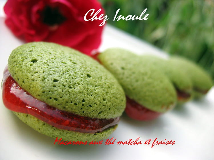 recette de macarons au th matcha et fraises la recette. Black Bedroom Furniture Sets. Home Design Ideas