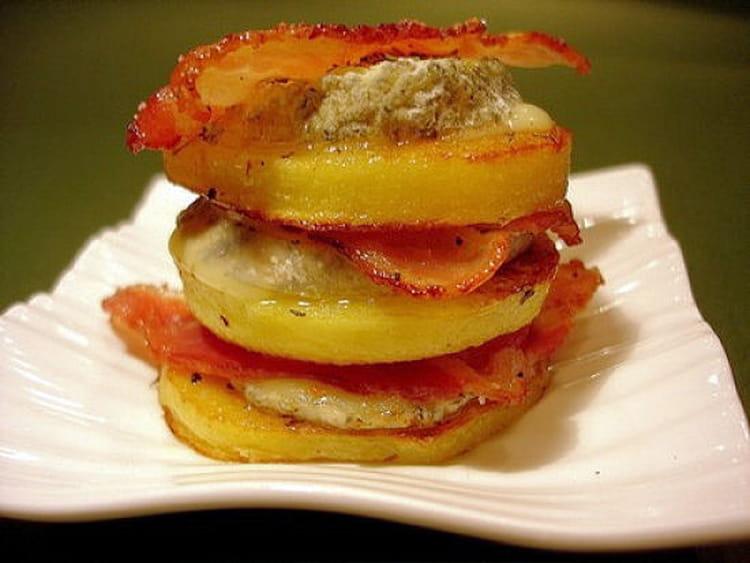 Mille feuille de pommes de terre lard fum et ch vre la recette facile - Feuille pomme de terre ...