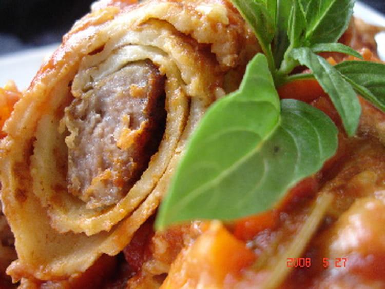 Recette de cannellonis de cr pes aux saucisses la - Cuisiner des saucisses ...