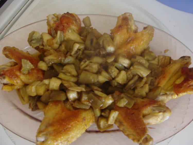 Recette ailerons de poulet aux aubergines la recette facile - Cuisiner aubergine rapide ...