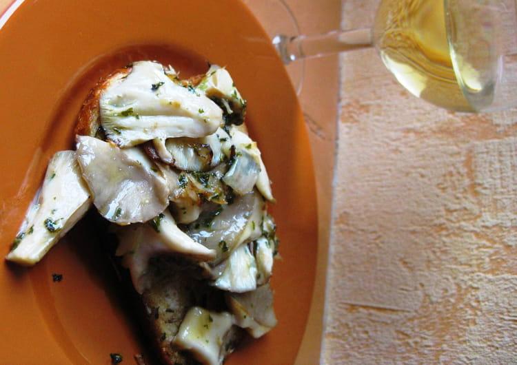 Recette de fricass e de pleurotes sur canap la recette - Cuisiner des pleurotes ...