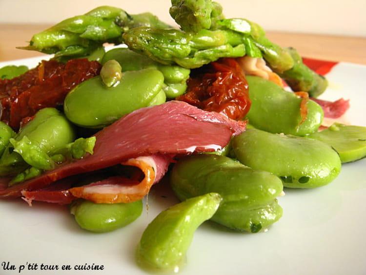 Recette de salade de f ves aux asperges et magret de - Cuisiner des feves seches ...
