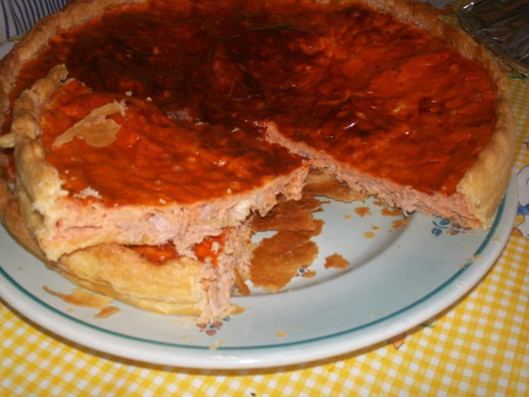 Recette de tarte au thon et saumon au concentr de tomate - Cuisiner du thon en boite ...