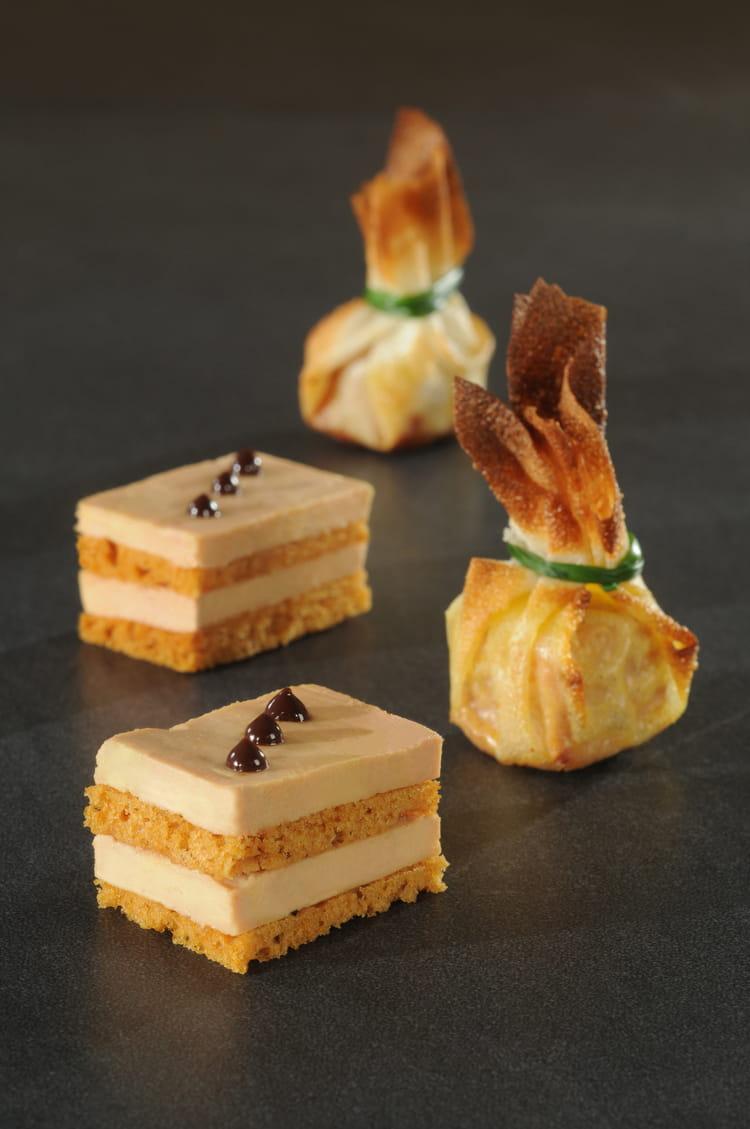Recette de Foie gras au pain dépices façon opéra et bonbon croustillant  la recette facile