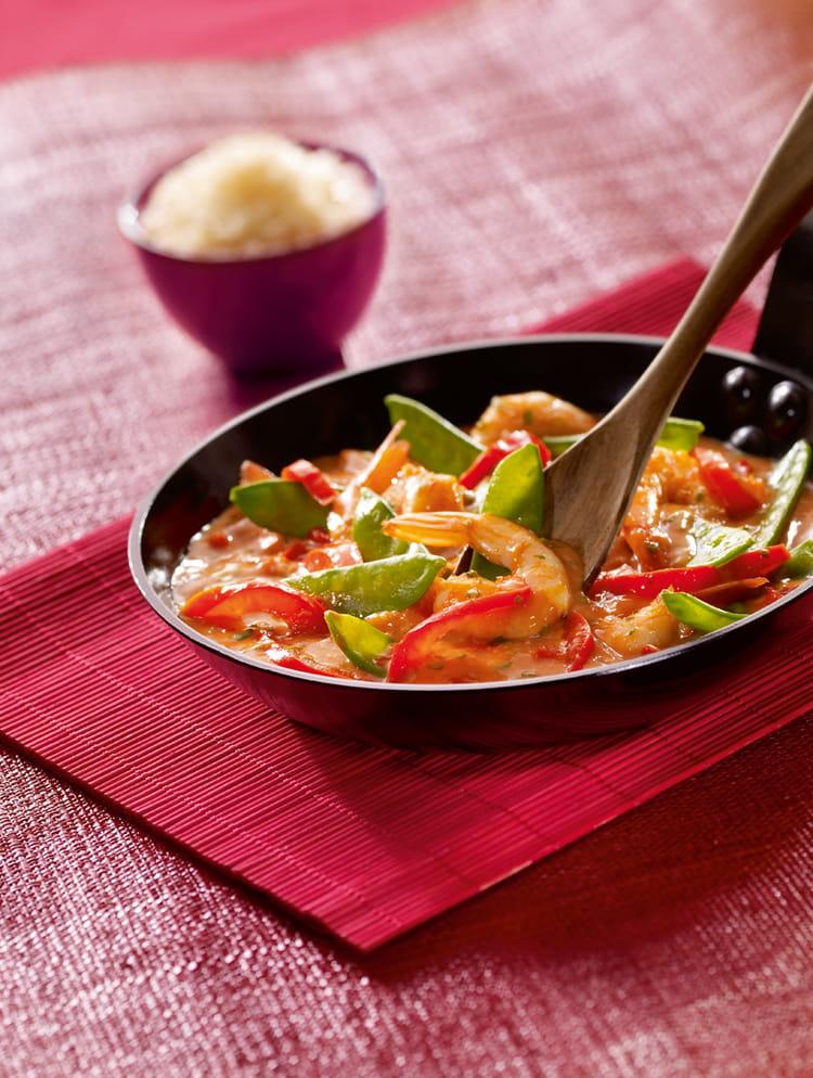 recette de crevettes au curry rouge la recette facile. Black Bedroom Furniture Sets. Home Design Ideas