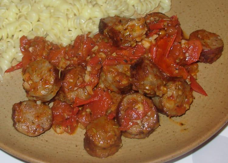 Recette de mijot de saucisse la tomate la recette facile - Cuisiner des saucisses ...