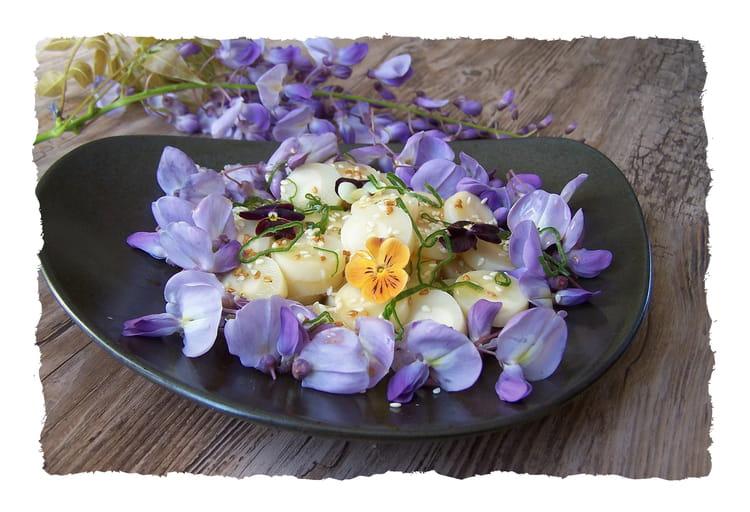 recette de salade de fleurs de glycine et coeurs de palmier la recette facile. Black Bedroom Furniture Sets. Home Design Ideas