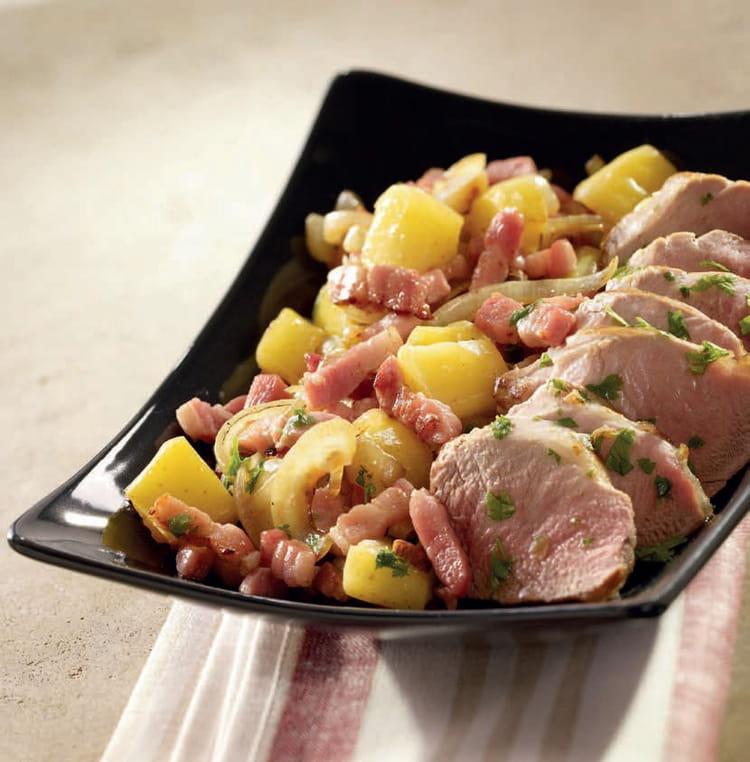 Recette de filet mignon de porc au cidre et d s de lardons - Cuisiner filet mignon de porc ...