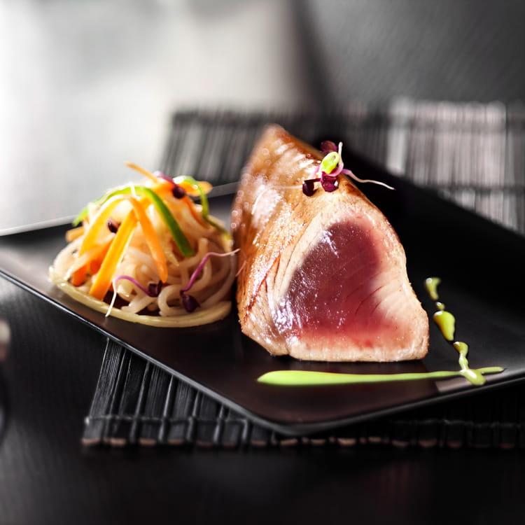 recette de longe de thon mi cuit aux nouilles et sauce japona la recette facile. Black Bedroom Furniture Sets. Home Design Ideas