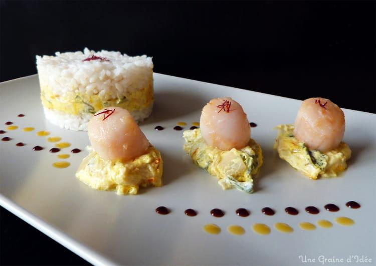 recette de noix de st jacques fondue de poireaux au safran et riz rond vinaigr la recette facile. Black Bedroom Furniture Sets. Home Design Ideas