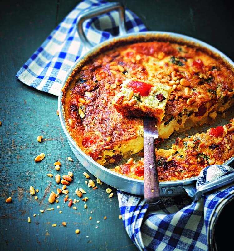 recette de clafoutis de tomates cerises mozzarella et pignon la recette facile. Black Bedroom Furniture Sets. Home Design Ideas