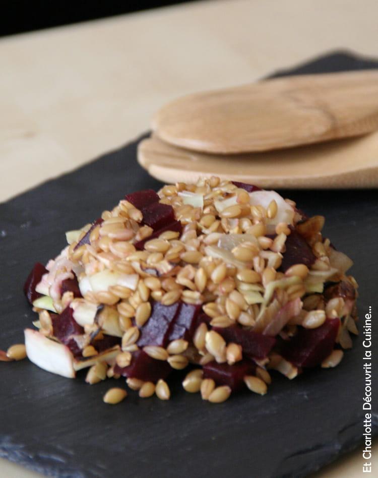 Recette de Salade dépeautre, chou et betterave : la recette facile