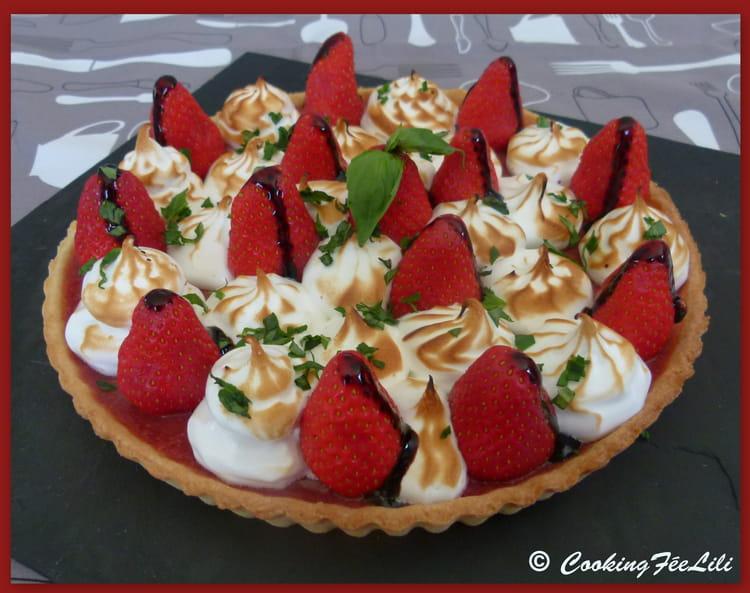 Recette de tarte aux fraises meringu e sur p te sabl e au citron la recette facile - Tarte aux citrons meringuee facile ...