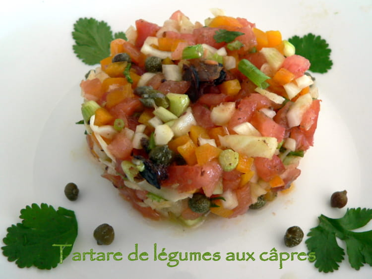 recette de tartare de l gumes aux c pres la recette facile. Black Bedroom Furniture Sets. Home Design Ideas