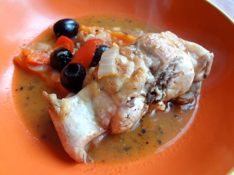 Recette de lapin aux poivrons rouges et olives noires au - Cuisiner le lapin au four ...