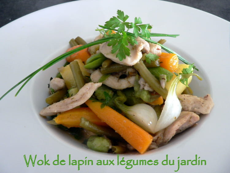 recette de wok de lapin aux l gumes du jardin la recette facile. Black Bedroom Furniture Sets. Home Design Ideas