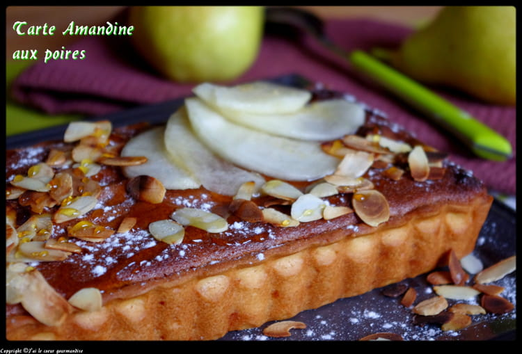 recette de tarte amandine aux poires caramel et amandes effil es la recette facile. Black Bedroom Furniture Sets. Home Design Ideas