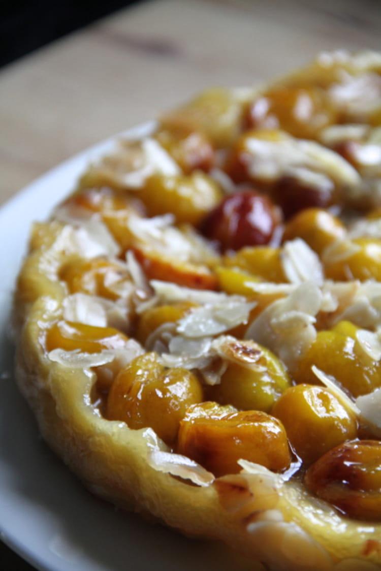 Recette de tatin aux mirabelles miel et amandes la recette facile - Recette avec des mirabelles ...