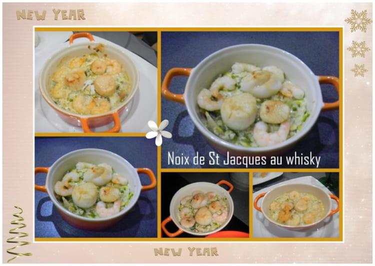 Recette de cassolette de saint jacques au whisky la - Cassolette de saint jacques sur lit de poireaux ...