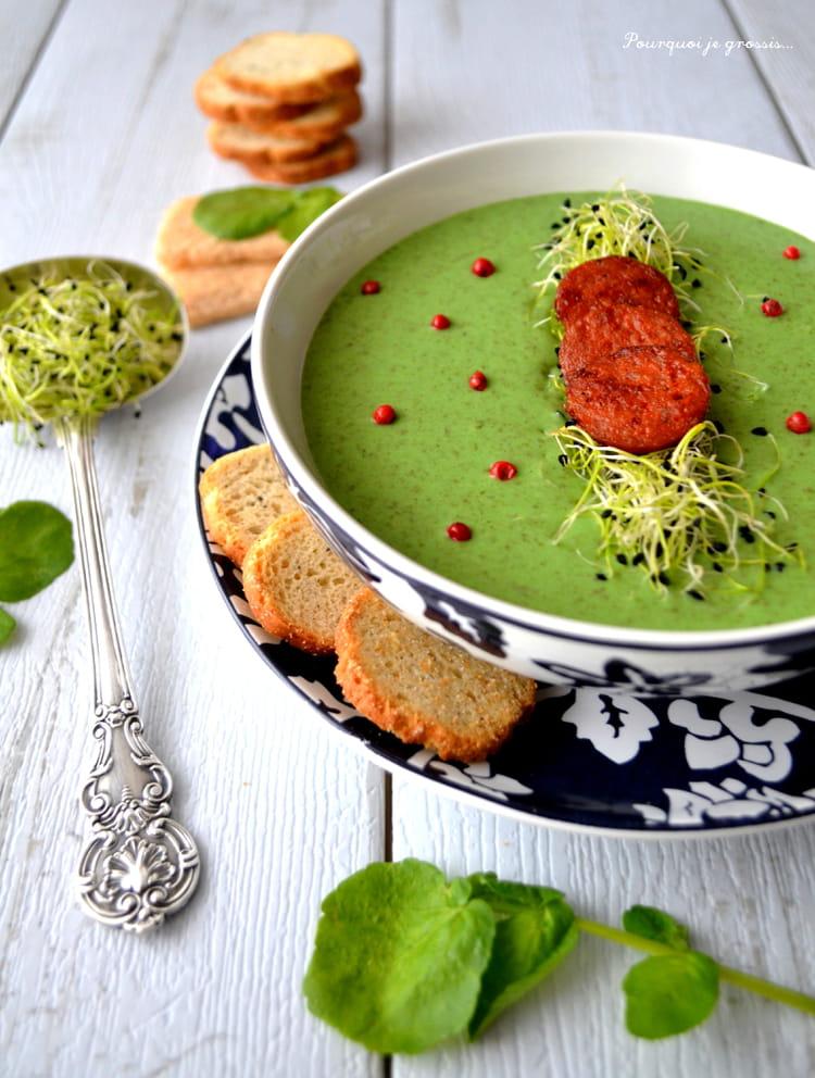 soupe au cresson croustillants de chorizo la recette facile. Black Bedroom Furniture Sets. Home Design Ideas