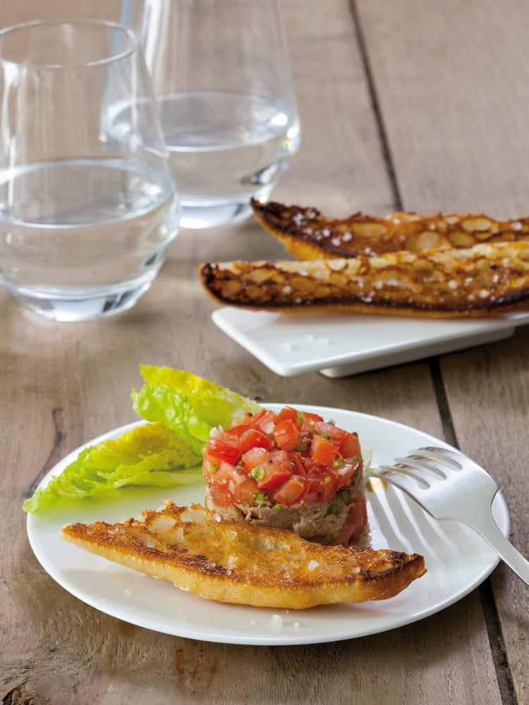 recette de tartare de tomates et thon mouillettes au gros sel la baleine la recette facile. Black Bedroom Furniture Sets. Home Design Ideas